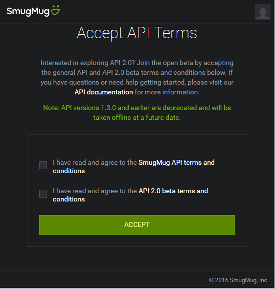Smugmug API v2 Terms of Service